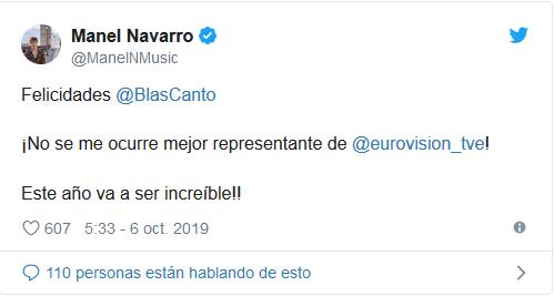Испанские звезды Евровидения поздравляют Бласа Канто с назначением на роль следующего представителя страны